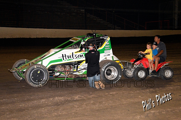 Heat race winner Chase Stockon being interviewed by Flo Racing